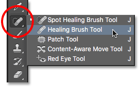 Selecting the Healing Brush from the Tools panel. Image © 2016 Photoshop Essentials.com