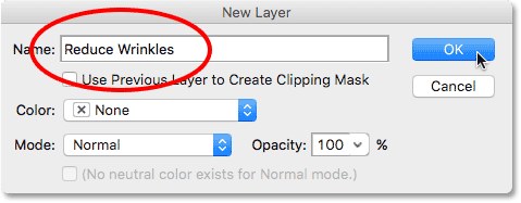 The New Layer dialog box in Photoshop. Image © 2016 Photoshop Essentials.com