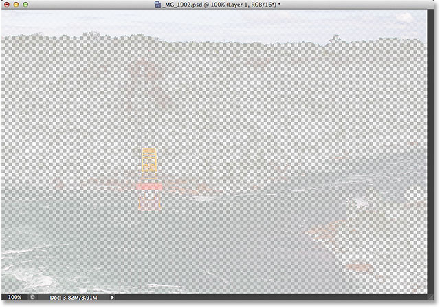 The pixels that were selected by the luminosity mask. Image © 2013 Steve Patterson, Photoshop Essentials.com.