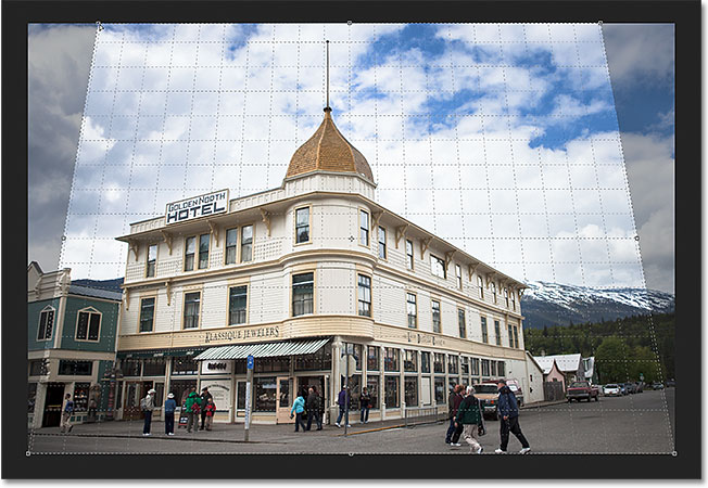 The image after adjusting the angle of the perspective grid. Image © 2012 Steve Patterson