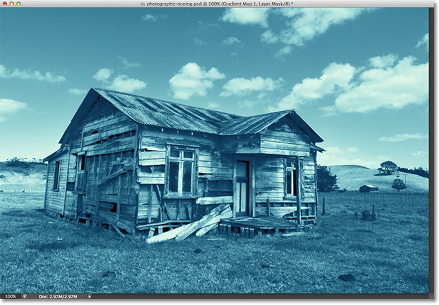 The photo with the Cyanotype Photographic Toning preset applied. Image © 2012 Photoshop Essentials.com