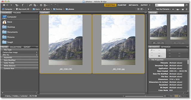 Selecting two photos at once in Bridge. Image © 2013 Photoshop Essentials.com