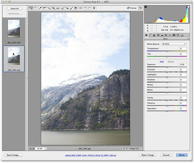 Switching from the raw file to the JPEG in Camera Raw. Image © 2013 Photoshop Essentials.com