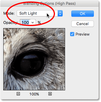 Changing the blend mode of the High Pass filter to Soft Light. Image © 2016 Photoshop Essentials.com