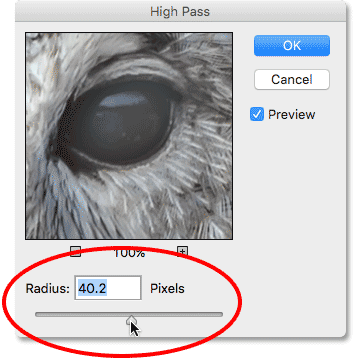 Increasing the Radius value to around 40 pixels. Image © 2016 Photoshop Essentials.com
