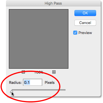 Setting the Radius option in the High Pass filter to its lowest value.