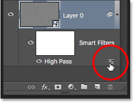Opening the High Pass filter's Blending Options dialog box. Image © 2016 Photoshop Essentials.com