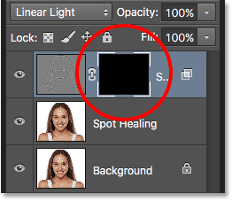 A black-filled layer mask has been added to the Soften Skin layer. Image © 2016 Steve Patterson, Photoshop Essentials.com