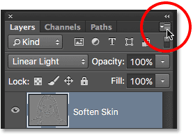 Clicking the Layers panel menu icon. Image © 2016 Steve Patterson, Photoshop Essentials.com