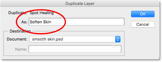 Naming the duplicate layer Soften Skin. Image © 2016 Steve Patterson, Photoshop Essentials.com