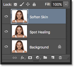 The Layers panel showing the new Soften Skin layer. Image © 2016 Steve Patterson, Photoshop Essentials.com