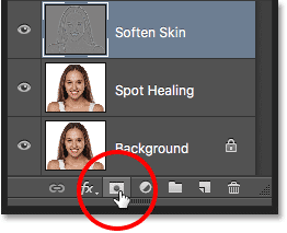 The Add Layer Mask icon in the Layers panel. Image © 2016 Steve Patterson, Photoshop Essentials.com
