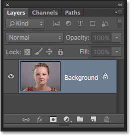 The Layers panel showing the original image on the Background layer in Photoshop. Image © 2016 Photoshop Essentials.com