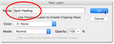 Naming the layer in the New Layer dialog box. Image © 2016 Photoshop Essentials.com