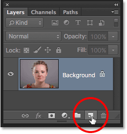 The New Layer icon in the Layers panel. Image © 2016 Photoshop Essentials.com