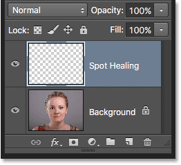 The Layers panel showing the Spot Healing layer. Image © 2016 Photoshop Essentials.com