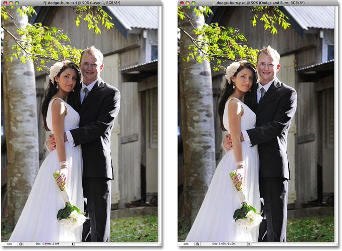 A side by side comparison of the two photos.  Image © 2008 Photoshop Essentials.com.