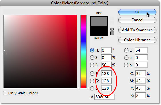 The Color Picker in Photoshop.  Image © 2008 Photoshop Essentials.com.