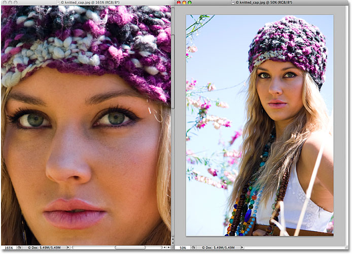 A two column document layout in Photoshop CS4. Image  2009 Photoshop Essentials.com