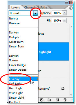 Changing the blend mode to Overlay