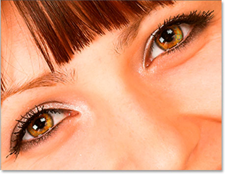 Add or lighten existing highlights in the bottom right of each iris with the Dodge tool