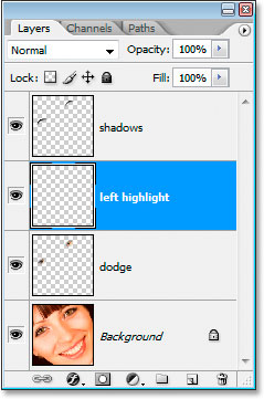 Add a new blank layer above the dodge layer
