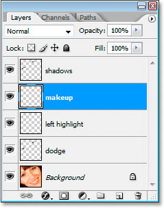 Add another new blank layer and name it makeup