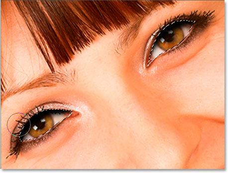 Selct both eyes with the Lasso tool