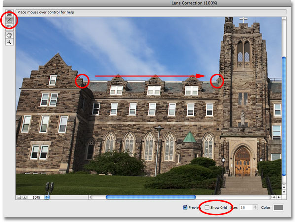 Straightening the image in the Lens Correction dialog box in Photoshop. Image © 2009 Photoshop Essentials.com.