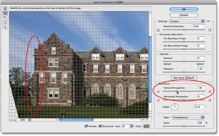 Adjusting the Vertical Perspective slider in the Lens Correction dialog box. Image © 2009 Photoshop Essentials.com