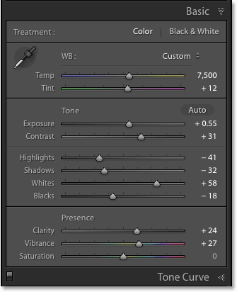 The Basic panel in Adobe Lightroom CC. Image © 2016 Photoshop Essentials.com