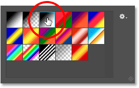 Choosing the Black to White gradient from the Gradient Picker in Photoshop. Image © 2016 Photoshop Essentials.com