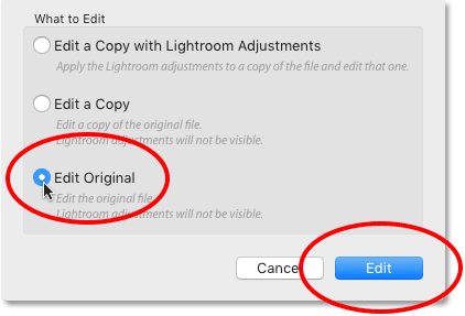 Once again choosing the Edit in Adobe Photoshop command in Lightroom CC.