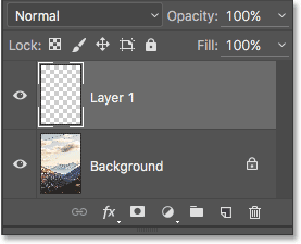 The Layers panel showing the new blank layer.