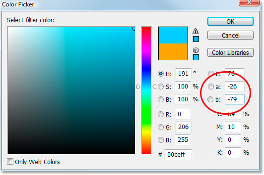 Inverting the orange color using the Lab color options in the Color Picker.