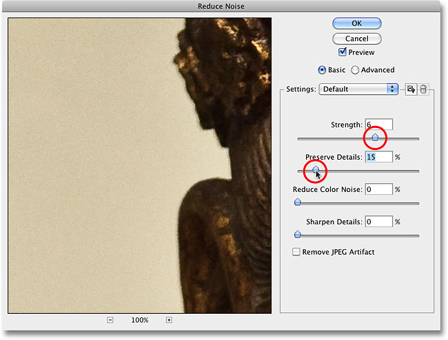 Reducing luminance noise in the image with the Reduce Noise filter in Photoshop. Image © 2010 Photoshop Essentials.com