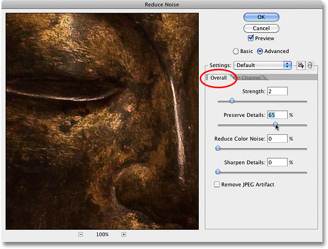 Switching back to the Overall options for the Reduce Noise filter. Image © 2010 Photoshop Essentials.com