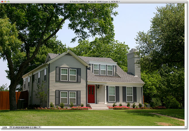 A photo of a house. Image licensed from Fotolia by Photoshop Essentials.com.
