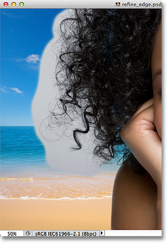 Painting over the hair with the Refine Radius Tool. Image © 2012 Photoshop Essentials.com