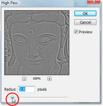 Photoshop's 'High Pass' filter dialog box.