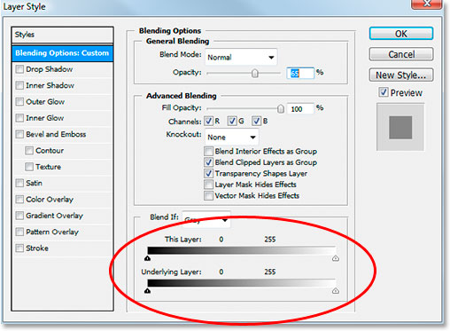 Photoshop's Layer Style dialog box with the Blend If sliders at the bottom