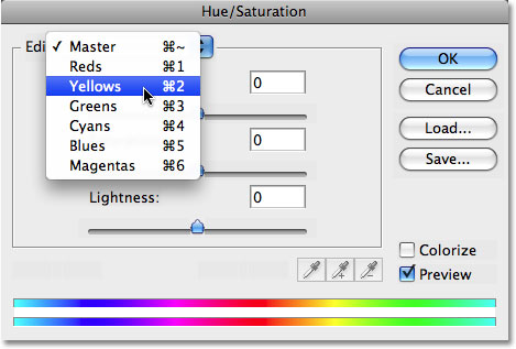 Select Yellows from the Hue/Saturation edit list. Image © 2008 Photoshop Essentials.com.