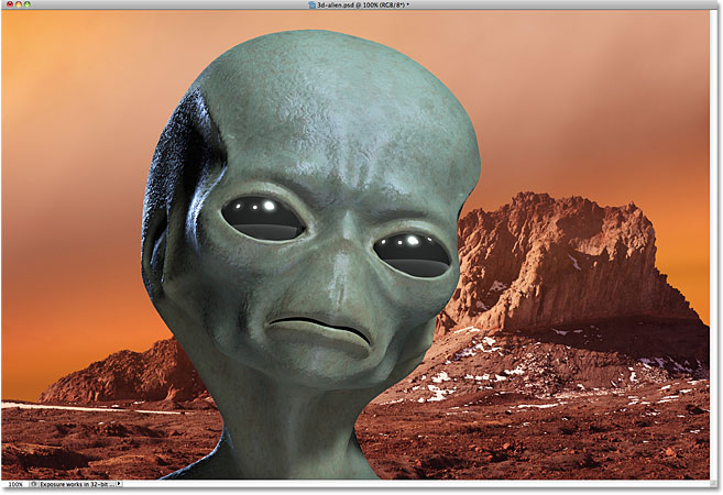 An alien on mars. Image composed of two separate imageslicensed from iStockphoto by Photoshop Essentials.com.