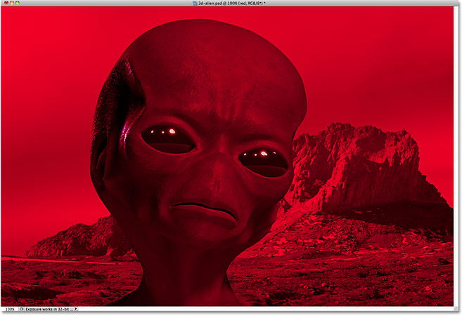 The image appears temporarily in red. Image &copy; 2010 Photoshop Essentials.com.