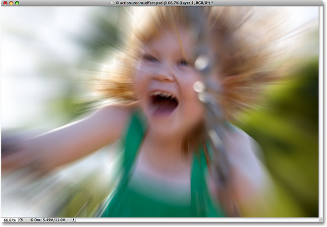 The photo after applying the Radial Blur filter in Photoshop. Image © 2008 Photoshop Essentials.com.