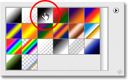 Selecting the Black to White gradient from the Gradient Picker in Photoshop. Image © 2008 Photoshop Essentials.com.