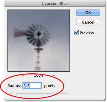 The Gaussian Blur filter dialog box in Photoshop. Image © 2011 Photoshop Essentials.com.