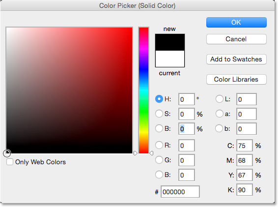 Choosing black from the Color Picker. Image © 2014 Photoshop Essentials.com.