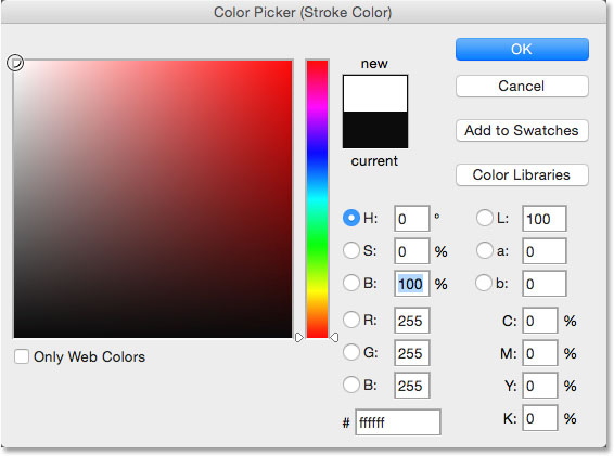 Changing the stroke color from black to white. Image © 2014 Photoshop Essentials.com.