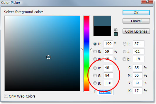 Choosing a color to colorize the image with in Photoshop's Color Picker.